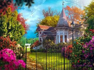 Собирать пазл Detached house with garden онлайн
