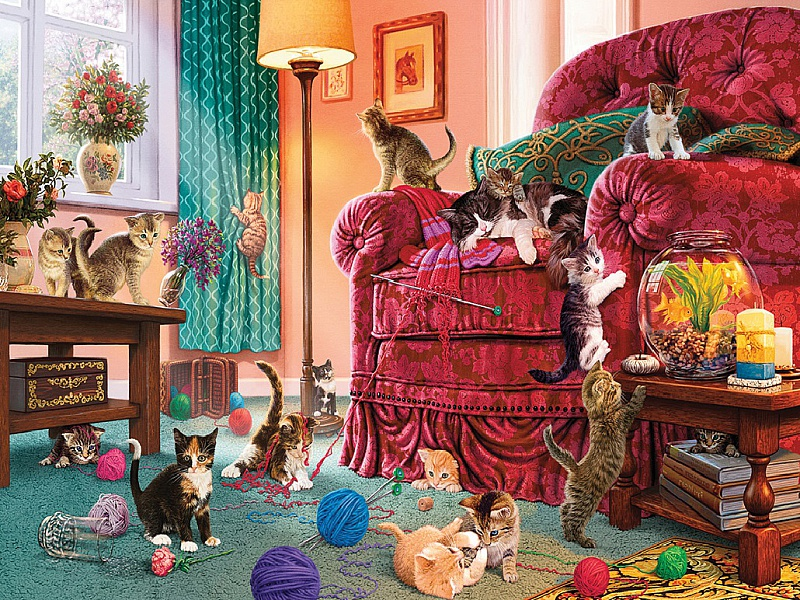Puzzle Zbierać puzzle online - Playful kittens