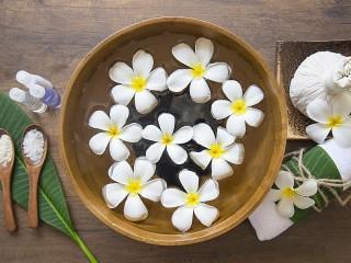 Собирать пазл Plumeria in water онлайн