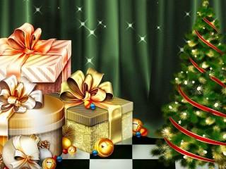 Собирать пазл Gifts and Christmas tree онлайн
