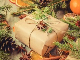 Собирать пазл Gift under the Christmas tree онлайн