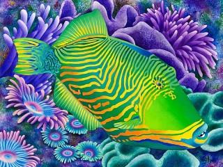 Собирать пазл Striped fish онлайн