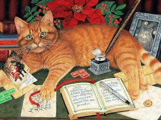 Собирать пазл Cat and postcards онлайн