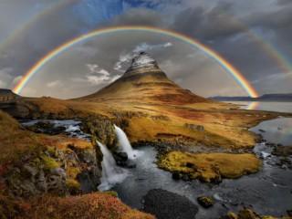 Собирать пазл Rainbow above mountain онлайн