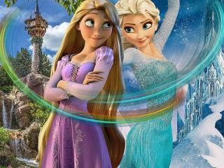 Собирать пазл Rapunzel and Elsa онлайн