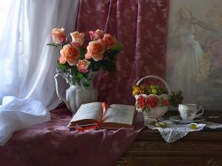 Собирать пазл Rose and the book онлайн