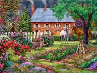 Собирать пазл Garden in blossom онлайн
