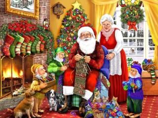 Собирать пазл Knitting Santa онлайн