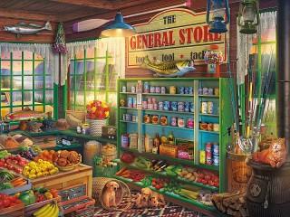 Собирать пазл Village shop онлайн