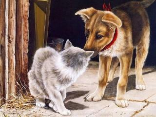 Собирать пазл Puppy and cat онлайн
