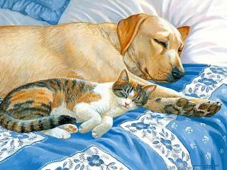 Собирать пазл Sleeping friends онлайн