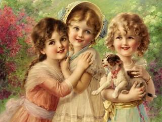 Собирать пазл Three baby-dolls онлайн