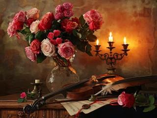 Собирать пазл Flowers and candles онлайн