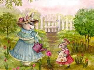 Собирать пазл Flowers and bunnies онлайн