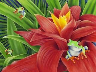 Собирать пазл Flower and frogs онлайн