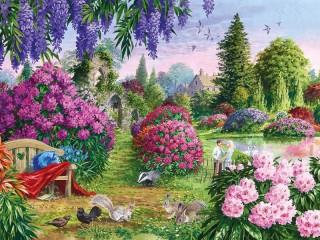 Собирать пазл Blossoming garden 1 онлайн