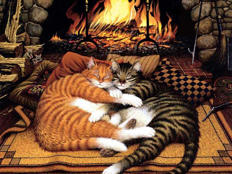 Puzzle Zbierać puzzle online - At the fireplace