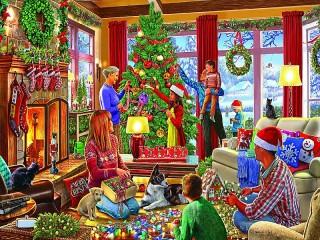 Собирать пазл The decoration of the Christmas tree онлайн