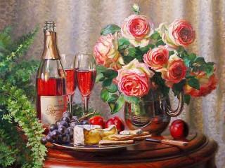 Собирать пазл Wine and roses онлайн