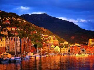 Собирать пазл Sunset in Bergen онлайн