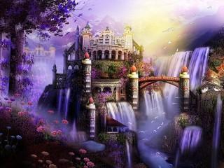 Собирать пазл Castle waterfalls онлайн