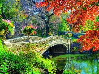Собирать пазл The bridge in the park онлайн