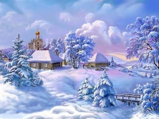 Собирать пазл Zima v derevne онлайн