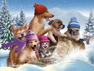 Собирать пазл Winter fun онлайн