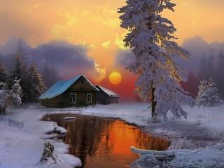 Собирать пазл Winter evening онлайн
