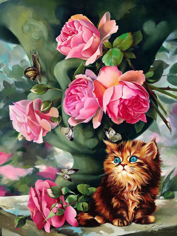 Puzzle Zbierać puzzle online - Still life with kitten
